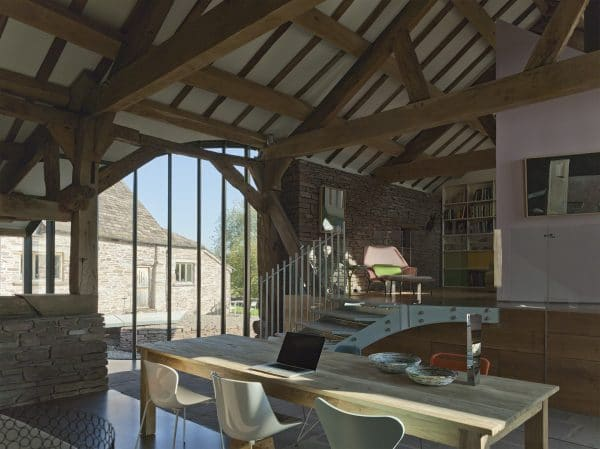 The inside of a barn conversion