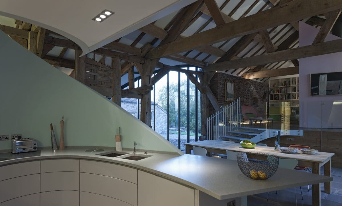 The interior of a barn conversion