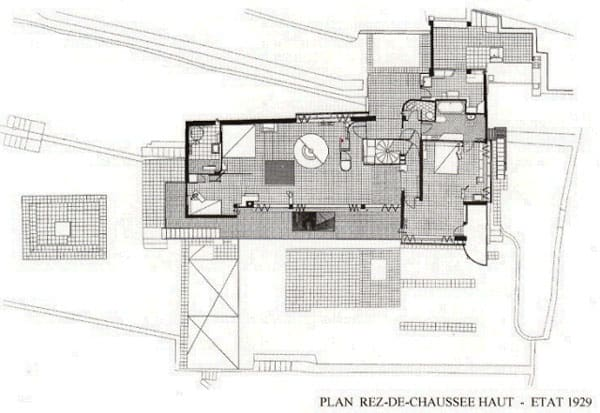 The floor plan for Eileen Gray's House E-1027