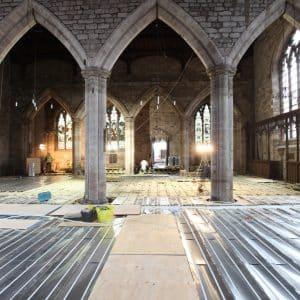 An underfloor heating installation in a church