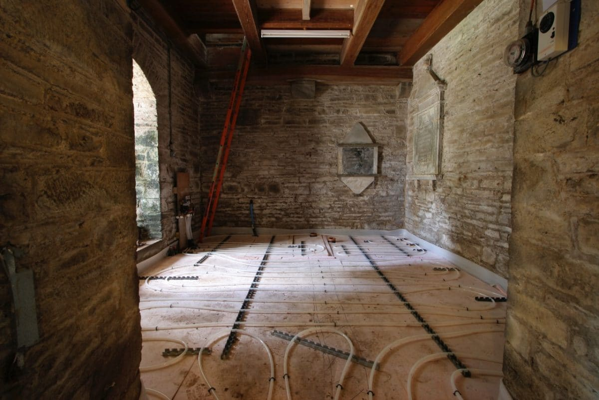 An underfloor heating installation in a church