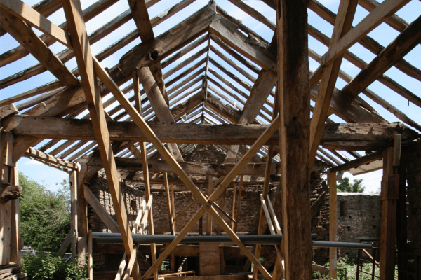 A barn being converted