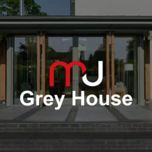 Podcast cover for the communion architects podcast, episode 2, the grey house. Communion Architects, Herefordshire.