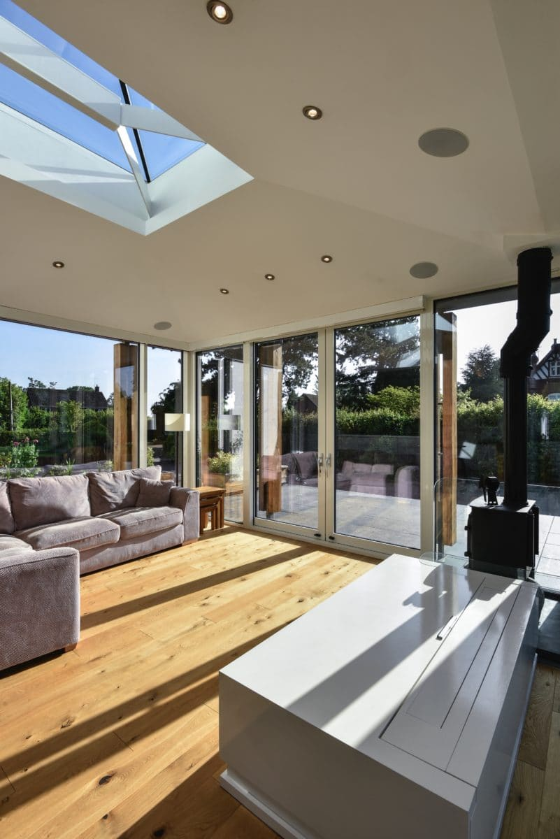 Portrait image of the interior of this light-filled home extension. Communion Architects Herefordshire.