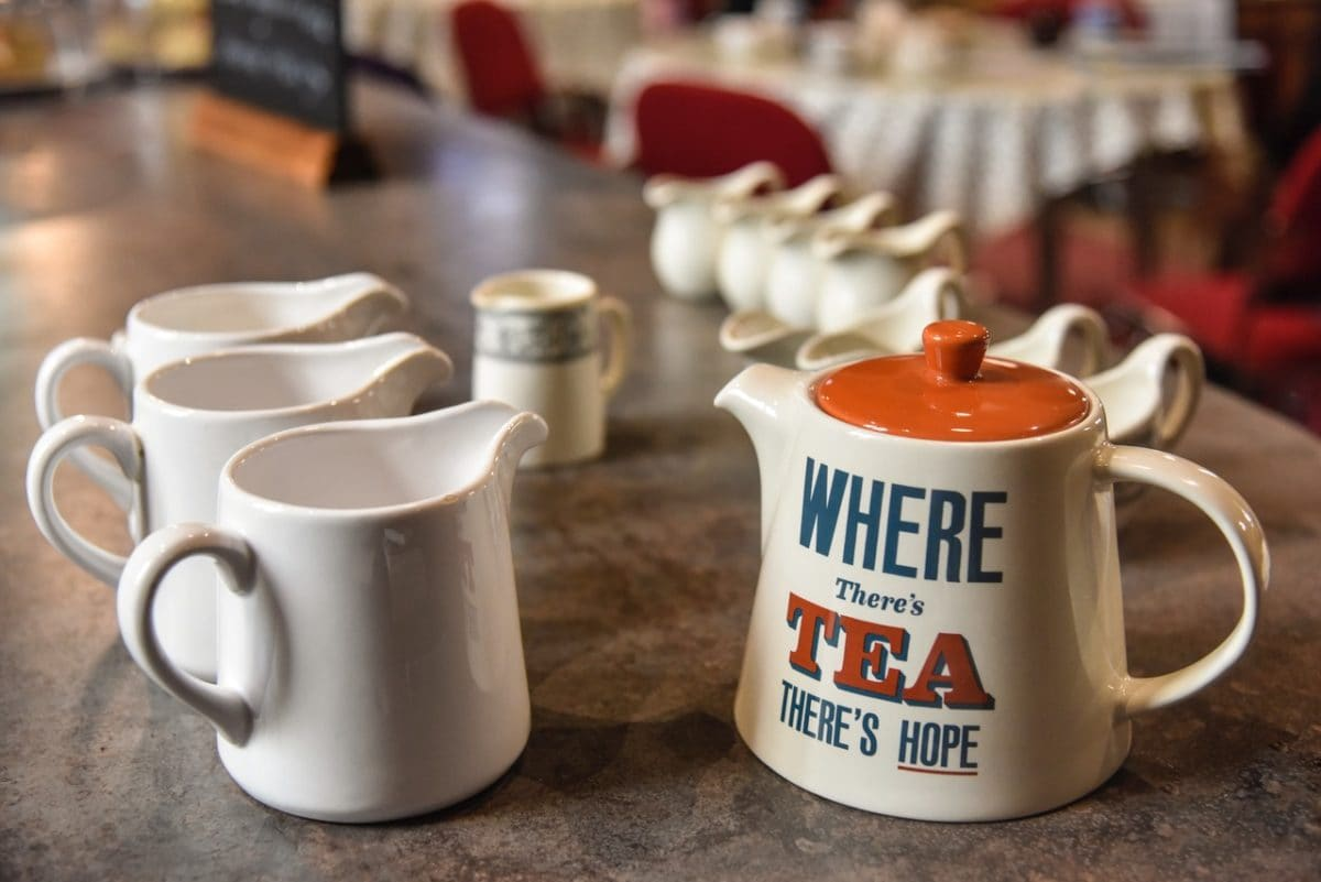 Tea pot, mugs and milk jugs. St Michael and All Angels church re-ordering.