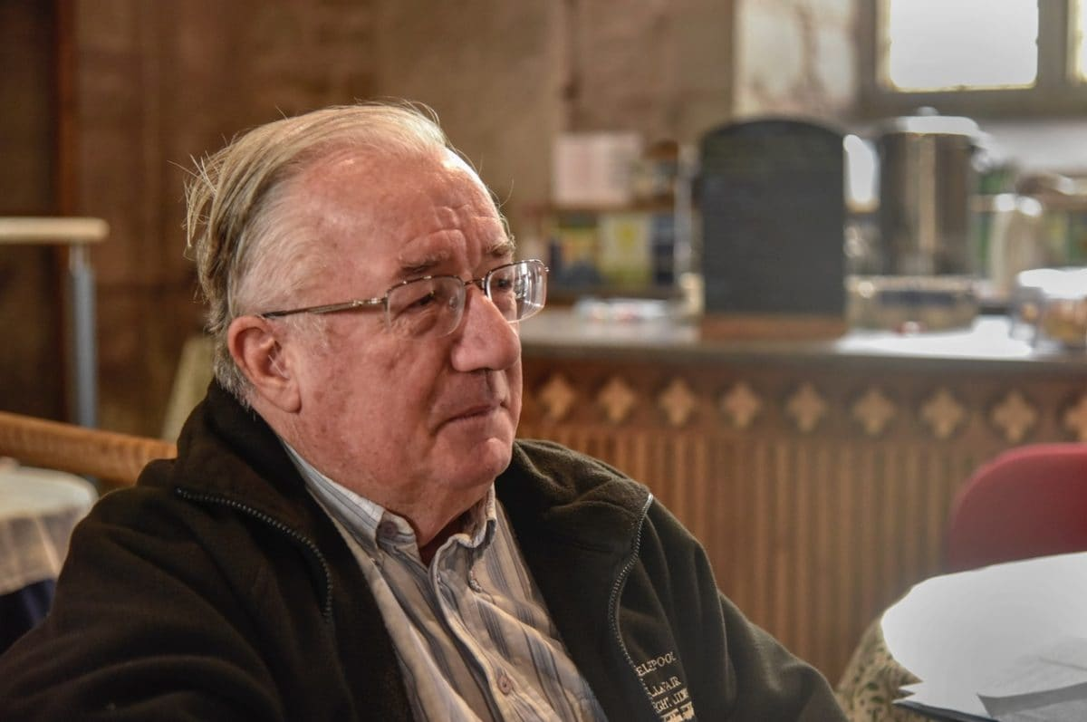 An older gentleman at the 'Take a Pew' cafe at St Michael and All Angels, church re-ordering project.